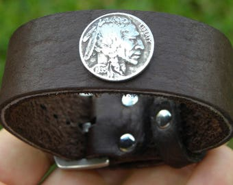 Vintage Buffalo Indian Nickel coin cuff Buffalo Bison leather Bracelet 1 inch wide  wristband adjustable size wrist nice for gift for biker