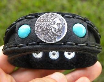 Cuff Bracelet Hobo Skull Nickel art coin  Genuine American Buffalo Bison leather customize wrist size for Biker Rock stars musician