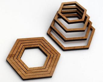 8 Concentric Hexagon Wood Beads : Cherry