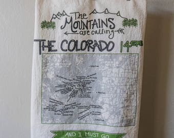 Colorado 14er Tea Towel - Mountains - 14,000 ft mountain peaks - mountains are calling - outoor gift - colorado housewarming present gift