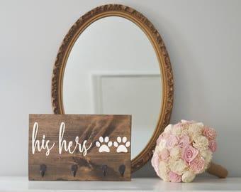 His and Hers Key Holder and Dog Leash Holder, Entryway Organizer, Key Organizer, Wedding Gift, Housewarming Gift