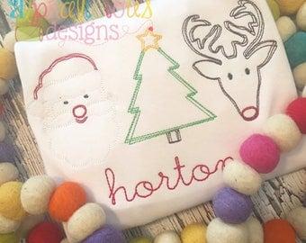 Santa, Christmas Tree, Rudolph Trio Shirt, Vintage Christmas Shirt, SHIPS FAST!!