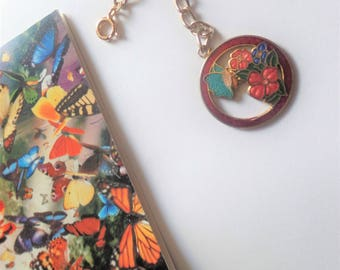 Colorful butterfly on flowers painted metal enamel like zipper pull purse charm bouquet charm rear view mirror fob purse jewellery, USA