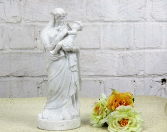 French Antique 1900 Bisque Statue Virgin Mary Infant Flowers Exquisite 10.62""