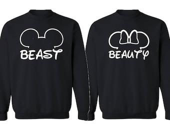 Couple Crewneck Beast Beauty Mouse Ears CREWNECK Couple Sweatshirt Cartoon Beast Beauty Sweater