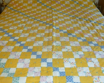 4 Patch Tied Quilt c. 1935 - FREE SHIPPING
