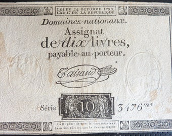 Genuine French Revolution Period Banknote. 10 Livres. Dated 1792.