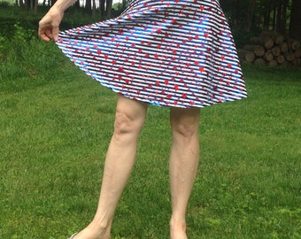 Misses Metallic Fourth of July Patriotic Skater Skirt