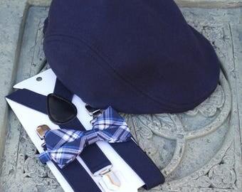 Kids Boy's Newsboy caps, Hat,Suspenders,bow Tie,Navy blue 2T,3T,4T,children,wedding
