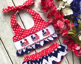 USA Crab Smock bathing suit, summer, Fourth of July, little girls, babies, Dash Forward, July 4th, American Bathing Suit, Smock