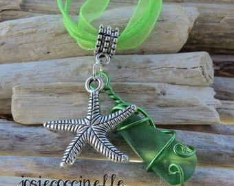 Pendant Necklace by JosieCoccinelle Starfish charm and green frosted glass