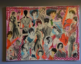 """""""THEY"""" COLLAGE ON CANVAS 50-60'S FASHION ADS"""