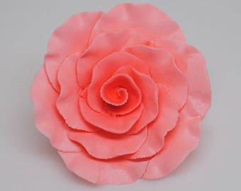 Coral Gumpaste Roses/Coral Gumpaste Formal Rose Cake Topper/Coral Gumpaste Cake Roses