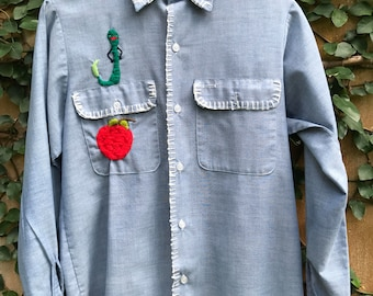 Vintage 1970's Chambray Embroidered Gardening Blouse with Worm, Apple, and Lady Bug