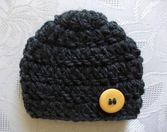 Charcoal baby hat Wool baby hat Baby boy hat Winter baby hat Newborn boy hat Newborn boy outfit Baby hat with button  Crochet baby hat