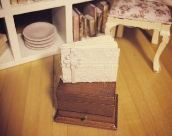 MINIATURE WEDDING GUESTBOOK:   1/12 scale, handmade wedding guestbook / photo album for dollhouses