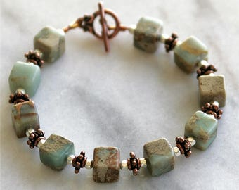 """Copper Silver Bracelet with Green Stone Cube Beads - 7.5"""""""