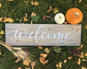 Welcome Rustic Wood Sign - Entry Sign - Doorway Sign -  Grey Stain -