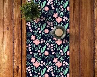 Dark Floral Table Runner, Navy Blue Mint Green Blush Pink Table Runner Dining Room Decor, Flowers Table Runner, Foliage Table Runner