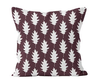 45 colors Fall Leaf Pillow Cover, Fall Throw Pillow Cover 18x18 22x22, Dark Red Burgundy Fall Throw Cushion Cover, Oak Leaves Fall Decor
