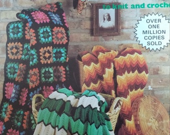 Leisure Arts Classic Afghans to knit and crochet leaflet