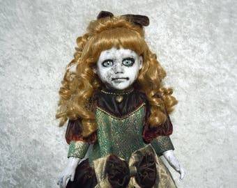 Creepy Doll with dirty face #138 Dark Art Horror Collectible  day of the dollies