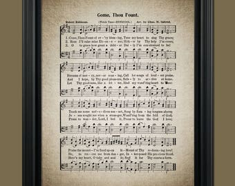 Come Thou Fount Hymn Lyrics - Hymnal Sheet - Sheet Music- Home Decor - Inspirational Art - Gift - Instant Download - #HYMN-019