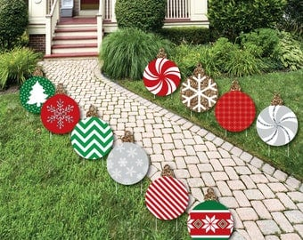 Great Christmas Ornament Shaped Lawn Decorations   Outdoor Ornament Yard Decor   Ornament  Lawn Ornament   Holiday