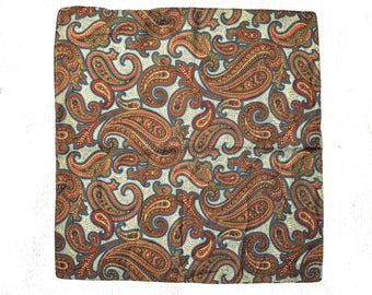 KENZO SILK SCARF / Pure silk / Vintage / Retro / Small scarf / Made in Italy / Brown / Blue / Paisley / Classic / Luxury
