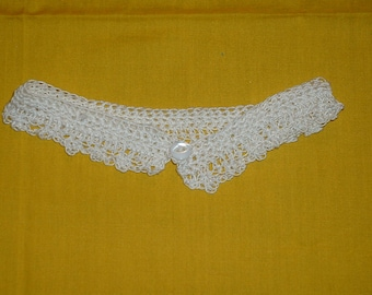 "CROCHETED LACE CHOKER - in White w/ White Beads along Bottom Edge, 14"" Length, 1"" Width"