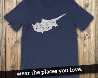 Cyprus Is In My Heart T-Shirt, Cyprus T-Shirt, Cyprus, Cypriot, Cyprus Map, I Love Cyprus, Cyprus T-Shirt