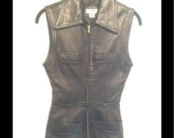 Bebe Vintage Leather moto Vest 80s 90s biker Sz S/M