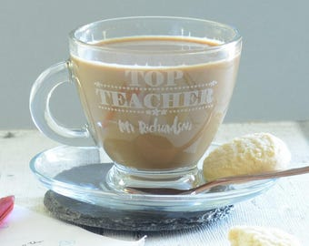Top Teacher Personalised Engraved Coffee Cup And Saucer