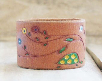CUSTOM HANDSTAMPED brown leather cuff with painted design by mothercuffer