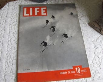 Life Magazines 1938 January 3 Down An Alp Vintage Magazines and Advertising