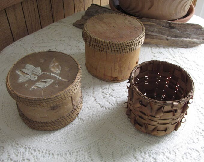 Basket Lot Handmade Bark and Porcupine Quill Boxes Canadian First Nations Ojibway Vintage Collections