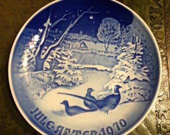 B & G Porcelain Copenhagen Denmark 1970 - Pheasants in the Snow - Vintage Collectible Plate