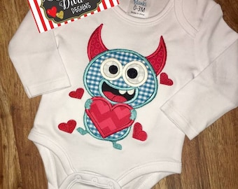 Boy's Valentine Monster Applique Shirt / Onesie