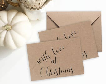 Mini Christmas Cards with envelopes, Christmas Card Set, Christmas gift tags, Christmas notecards, 10pk Recycled Cute