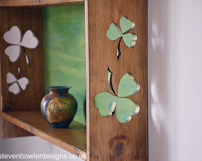 Bespoke Celtic Leaf Rustic Reclaimed Wood Country Cottage Shelving Unit with Celtic Shamrock Leaf Pattern Wall Mount Fixings Supplied