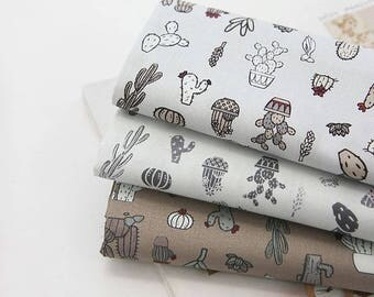 Cactus Pattern Cotton Fabric by Yard - 3 Colors Selection