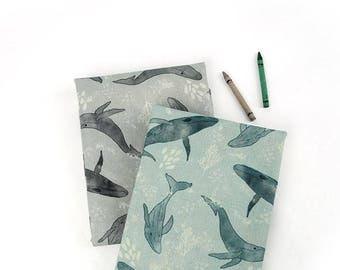 Whales Linen Blended Fabric by Yard - Illustration Design Fabric