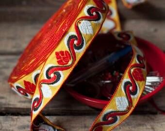 1970's Pine cone motif woven jacquard ribbon