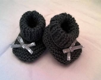 charcoal gray wool baby shoes