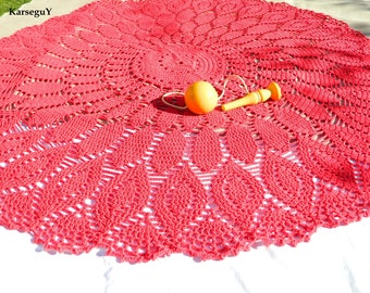 Cherry Red crocheted throw or rug
