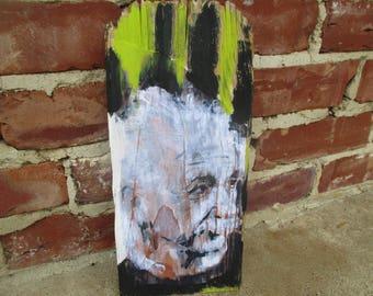 Albert Einstein mixed media art on salvaged wood, theoretical physicist, physics, Einstein art, Einstein painting, science class room, gift