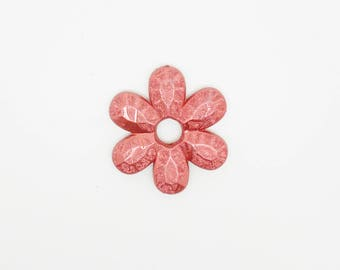 metallic large red flower bead to compliment necklace mesh size 41 x 45 mm
