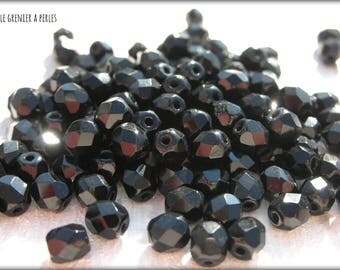 Faceted 4 mm BLACK / JET (23980) X 50