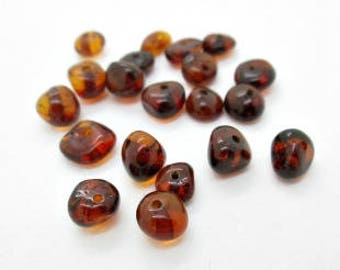 Baltic Amber Nugget Beads, Cherry Amber Nuggets, Genuine Amber Beads 6-8mm (25)