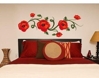 20% OFF Summer Sale Poppies wall decal, sticker, mural, vinyl wall art